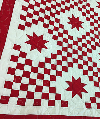 Red and White Triple Irish Chain with Stars - Bold Graphic look FINISHED QUILT
