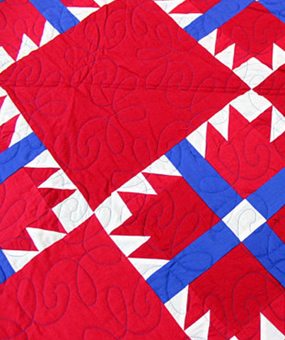 Amish styled Red, White and Blue Bear Paw FINISHED QUILT - Patriotic Colors