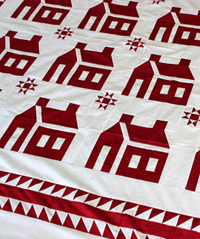 School House w/ Ohio Stars QUILT TOP - double sawtooth borders